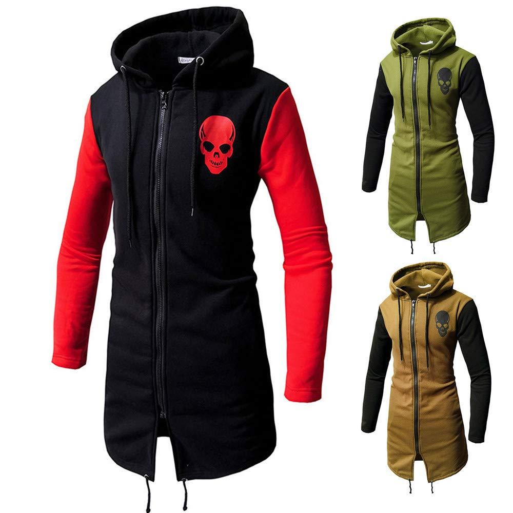 COOKI Mens Casual Skull Printed Zip up Long Sleeve Fashion Hoodie Hooded Long Trench Coat Jacket Parka Zipper at Amazon Mens Clothing store: