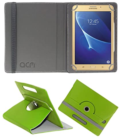 Acm Rotating 360 Leather Flip Case Compatible with Samsung Galaxy J Max Tab Cover Stand Green