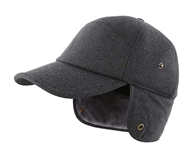 e91e2e5d6c LLmoway Men s Winter Baseball Cap with Earflaps Fleece Lined Warm Ski  Trapper Hunting Hat Dark Grey