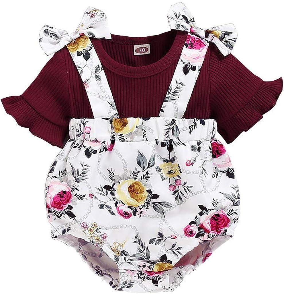 BBSMLIN Ropa Bebe Niña Verano 2020 Ropita para Recién Nacido Bebé 3 a 6 9 12 18 Meses - 2PC Conjunto, Camiseta de Manga Corta + Girasol Pantalón Cortos