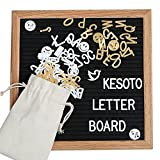 Kesoto Changeable Letter Board with 380 Letters (White & Gold) - Changeable Message Board Sign with Oak Wood Frame, Wall Mount & Plastic Stand, Plus Free Letter Bag (10x10 Inches)