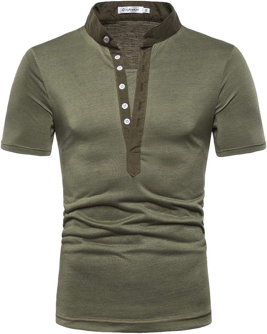 YY-qianqian Mens T-Shirt Leisure Lapel Regular Fit Solid Long Sleeve Polo Shirt