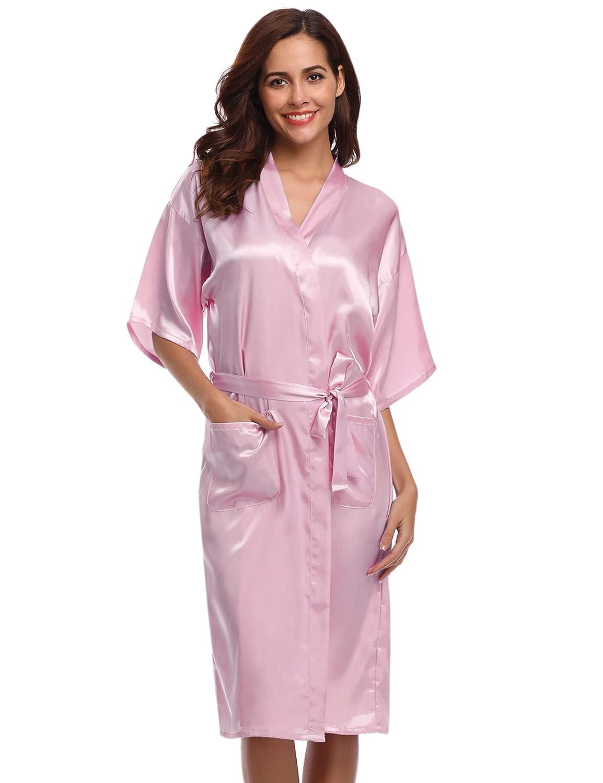 Aibrou Womens Bride Bridesmaid Kimono Robes Dressing Gown Satin Nightdress Bridal Party Bathrobe