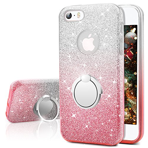 iPhone SE Case, iPhone 5S / 5 Case, Silverback Girls Bling Glitter Sparkle Cute Case With 360 Rotating Ring Stand, Soft TPU Outer Cover + Hard PC Inner Shell Skin for Apple iPhone SE 5S 5 -Ombra Pink (Iphone 5s Case Cute Bling)