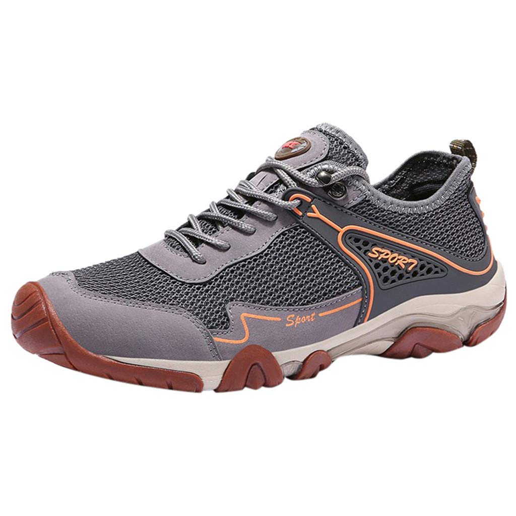 Lovygaga Fashion Men Popular Comfy Breathable Mesh Mountaineering Sneakers Casual Non-Slip Outdoor Hiking Shoes Gray