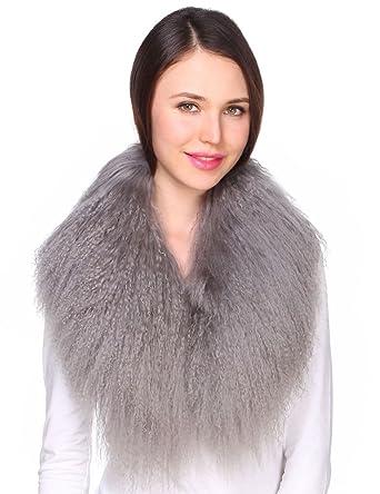 Ferand - Bufanda de Lujo Cuello de Piel de Lana de Cordero de Mongolia Auténtica para Ropa de Abrigo de Mujer Gris Oscuro: Amazon.es: Ropa y accesorios