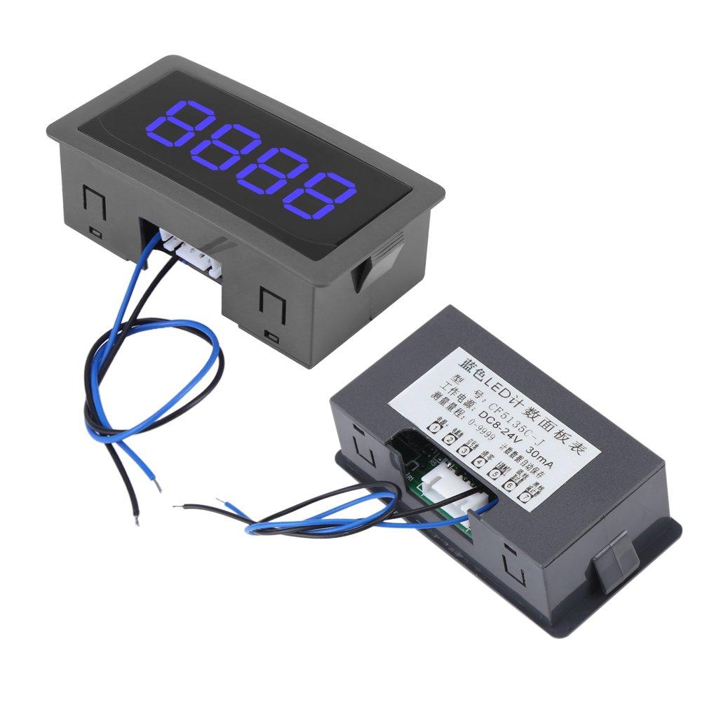 Contador digital LED de alta precisi/ón 0-9999 Up//Down Plus//Minus 4 d/ígitos azul panel de 4 d/ígitos con cable panel de medici/ón luminoso pantalla digital LED CC