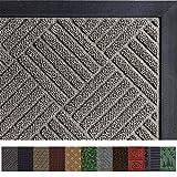 Gorilla Grip Original Durable Rubber Door Mat (29 x 17) Heavy Duty Doormat, Indoor Outdoor, Waterproof, Easy Clean, Low-Profile Mats for Entry, Garage, Patio, High Traffic Areas (Gray: Diamond)