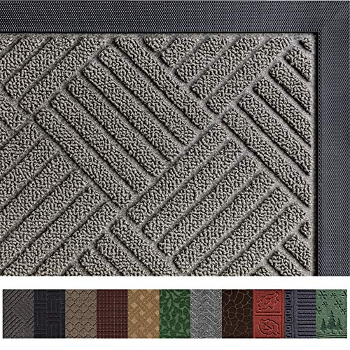 Gorilla Grip Original Durable Rubber Door Mat (35 x 23) Heavy Duty Doormat for Indoor Outdoor, Waterproof, Easy Clean, Low-Profile Rug Mats for Entry, Patio, High Traffic Areas (Gray: Diamond)