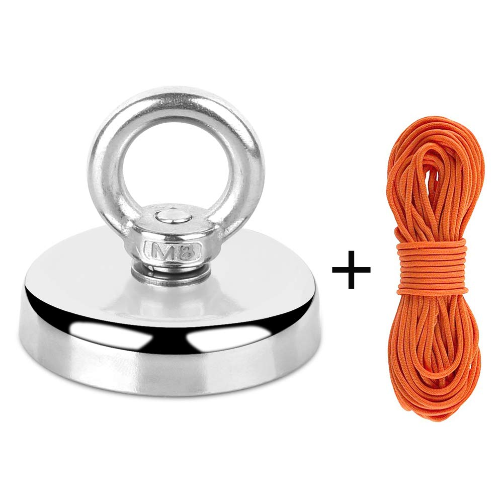 Super Strong Fishing Magnet | 350 lbs Pulling Force Rare Earth Neodymium Magnet with Countersunk Hole and Eyebolt | Diameter 2.36 inch (60mm) with 100 feet Rope Pulling Force Super Strong Neodymium Ma