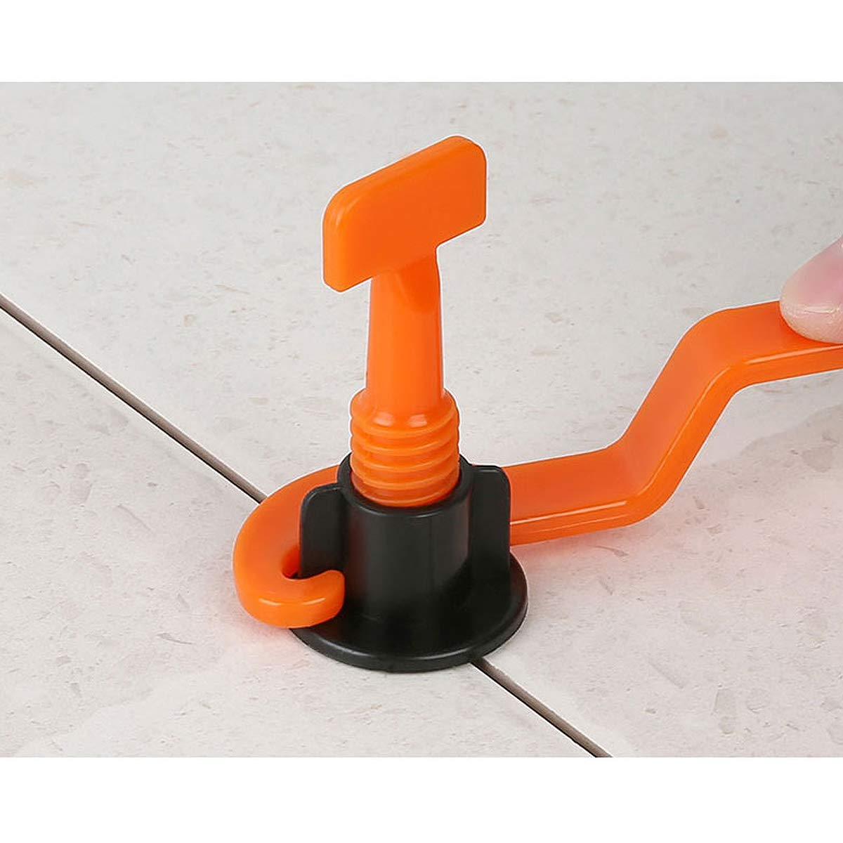 Orange Ajusteur Syst/ème de nivellement de sol en c/éramique plate avec cl/é sp/éciale 50 PCS Niveleur de carrelage Kit de syst/ème de nivellement de carreaux r/éutilisable