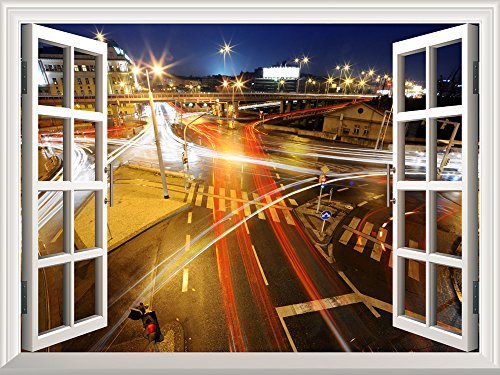 Removable Wall Sticker Wall Mural City Traffic at Night Creative Window View Wall Decor