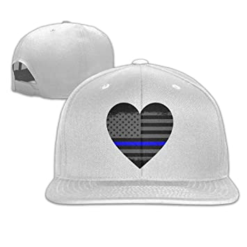 b8d10496096fe9 Amazon.com: Pin-1 Blue Thin Line American Flag Hip-hop Baseball Hats ...