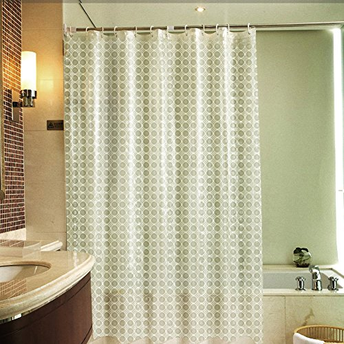 3D Shower Curtain, VOLADOR 72 x 72 inch Waterproof Bathroom Curtain Heavy Duty Shower Curtain Liner with Hooks,