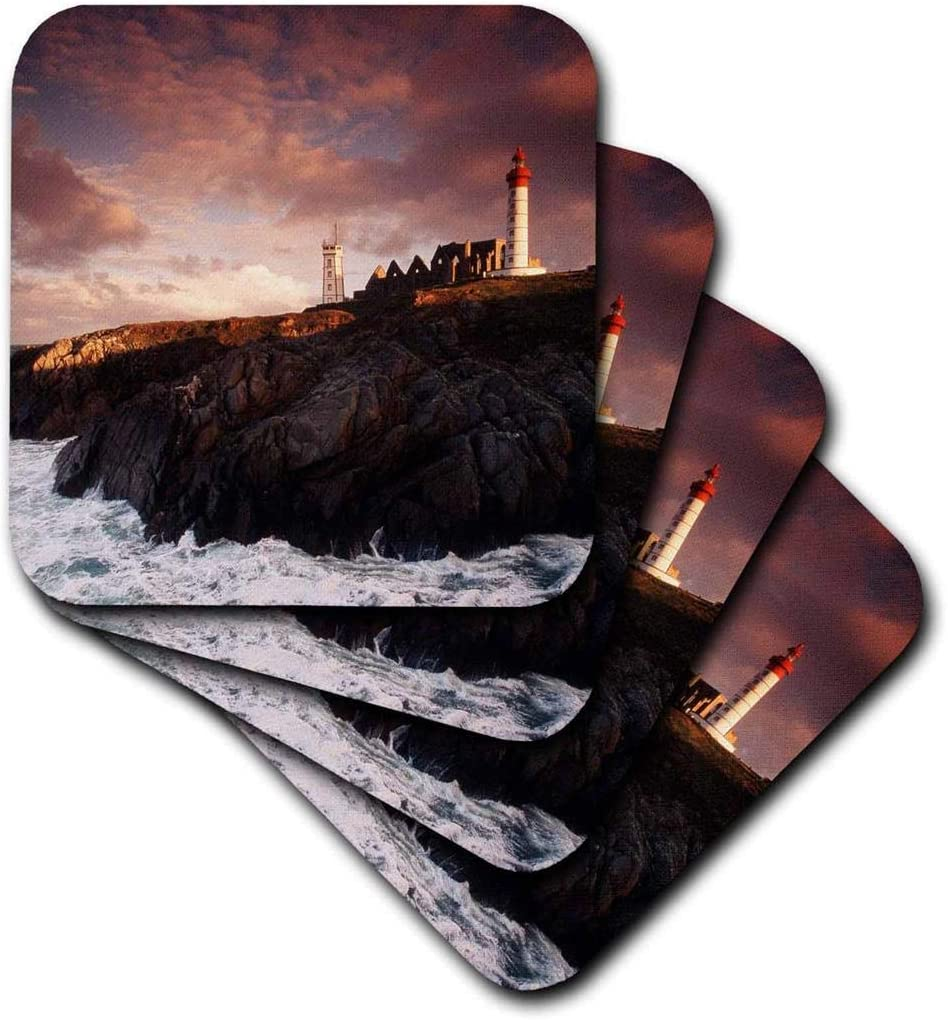 3dRose CST_210264_2 France, Brittany, Finistere, Saint-Mathieu Lighthouse at Dawn Soft Coasters, Set of 8