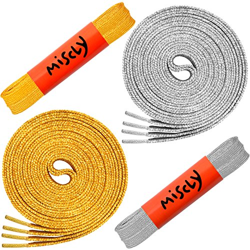 Miscly Flat Metallic Shoelaces [2 Pairs: 1 Pair Gold + 1 Pair Silver] 5/16 Wide