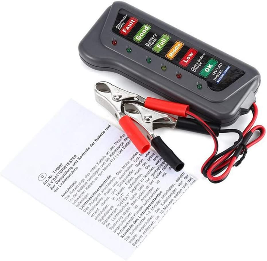 ZYElroy Car Truck 12 Volt Battery Tester LED Indicator Light Display Motorbike Motorcycle Battery Checker