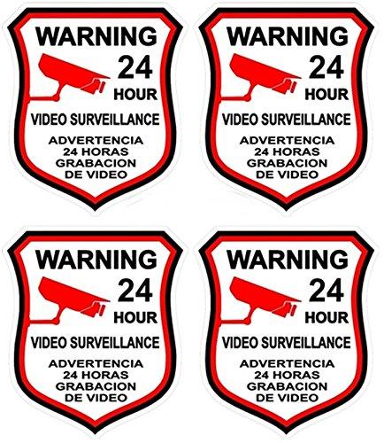 "4 Pcs Hair-raising Unique Warning 24 Hour Video Surveillance Sticker Sign Window Adhesive Home Premises Monitored Security Trespassing Hr Decals Business Burglar House Neighbor Size 3""x4.5"" Spanish"