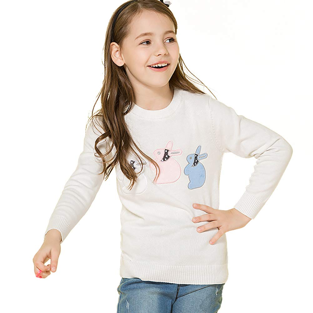 Girl's Pullover Sweater Crew Neck Cotton Knit Sweater Casual Style with Rabbits Embroidered for Girls 3-10Y