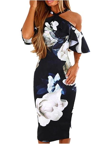 aff22518cb33 Vestito Vestiti da donna Elegante 💋 feiXIANG® Donne Sexy Stampa Abito Sera  Festa Spiaggia