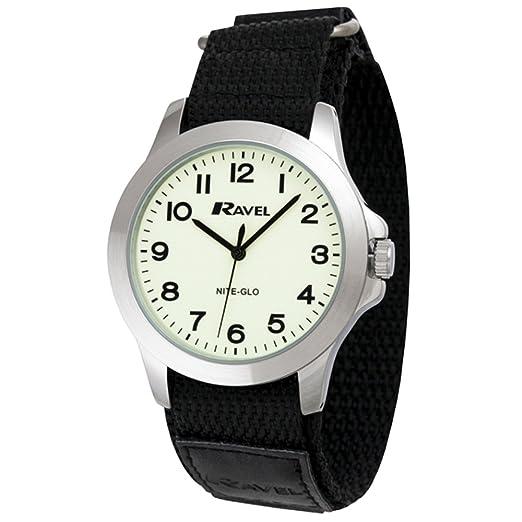 Ravel Reloj que brilla en la oscuridad con correa de velcro negra R1720.13: Amazon.es: Relojes