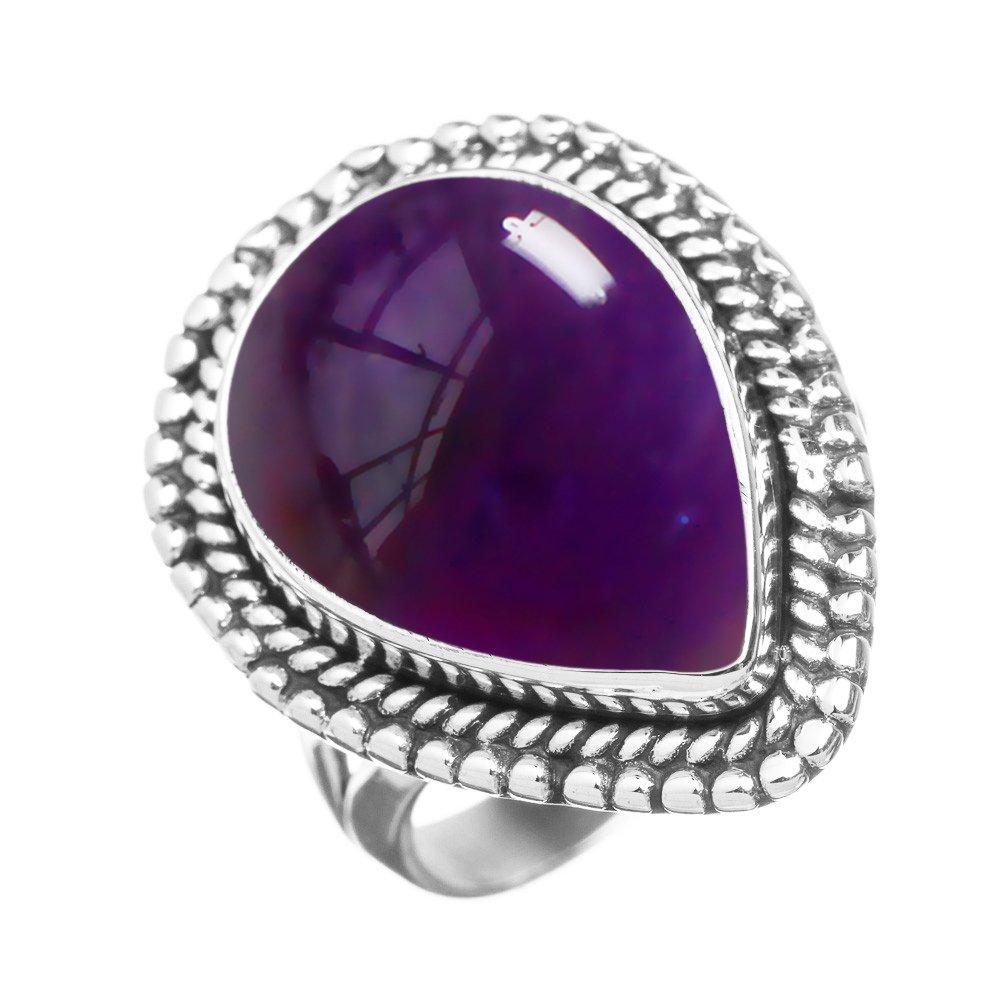 5.10ctw, Genuine Amethyst 10x14mm Pear & .925 Silver Plated Handmade Fashion Ring (Size-9)