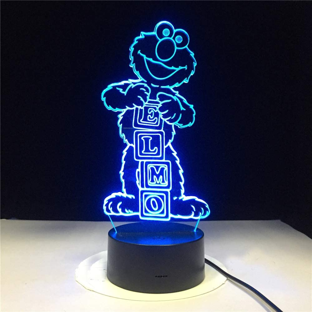 3D Led Night Light Lamp Cartoon Sesame Street ELMO Figure Home Decoration Remote Control KATA