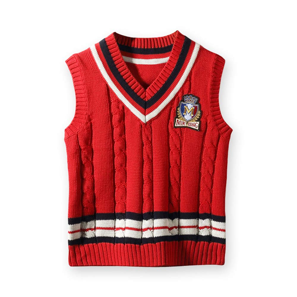 Tearmer Kids Sweater V-Neck Vest Cotton Cable-Knit Pullover School Uniforms for Boys//Girls