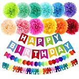 "Loves 15pcs 10"" Birthday Paper Pom Poms (12 Colors), Happy Birthday Party Bunting Banner, Rainbow Paper Garland for Birthday Party Decorations"
