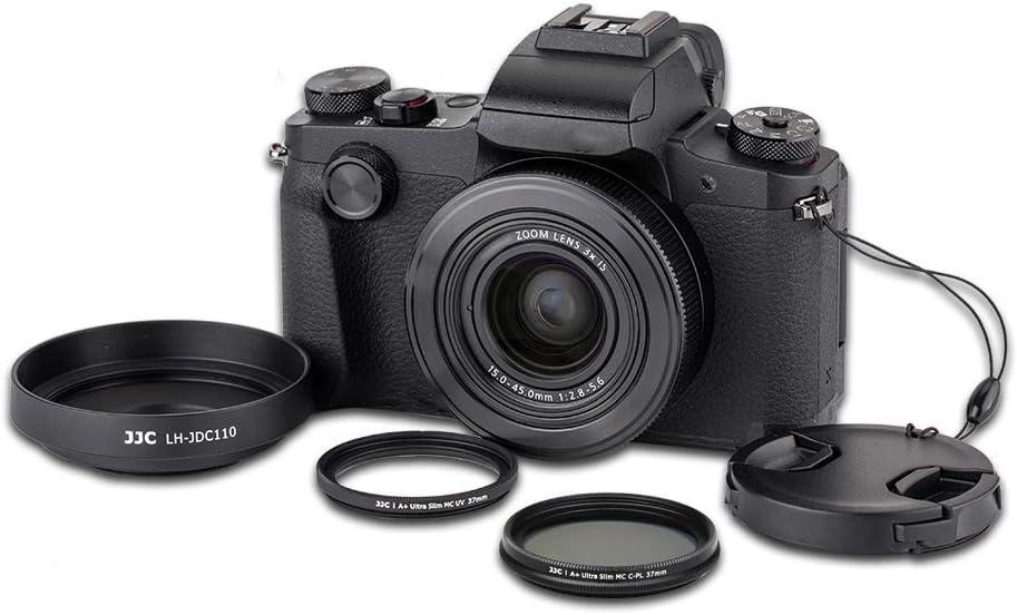 Objektivdeckel mit Schnur JJC 4-teiliges Gegenlichtblenden-Set f/ür Powershot Canon G1X Mark III Digitalkamera inklusive Gegenlichtblende aus Aluminiumlegierung MCUV /& CPL Filter