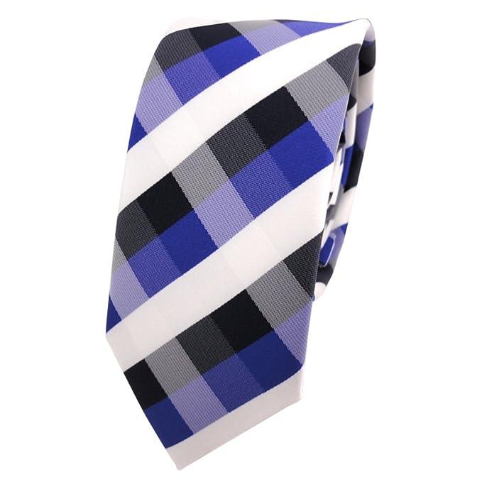 corbata estrecha en azul royal azul de cobalto blanco a cuadros ...