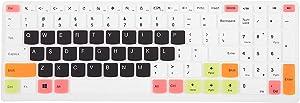 "Leze - Ultra Thin Silicone Keyboard Cover Skin Protector for Lenovo ideaPad 510 15.6"",ideapad 110 15.6"" 17.3"",ideapad 310 15.6"", Flex 4 15"" Laptop - White Black"