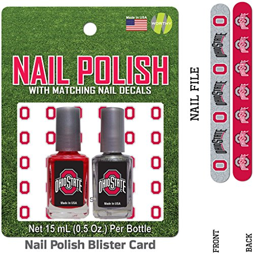 Bundle 2 Items: Ohio State University Nail Polish Team Colors with Nail Decals & Nail File