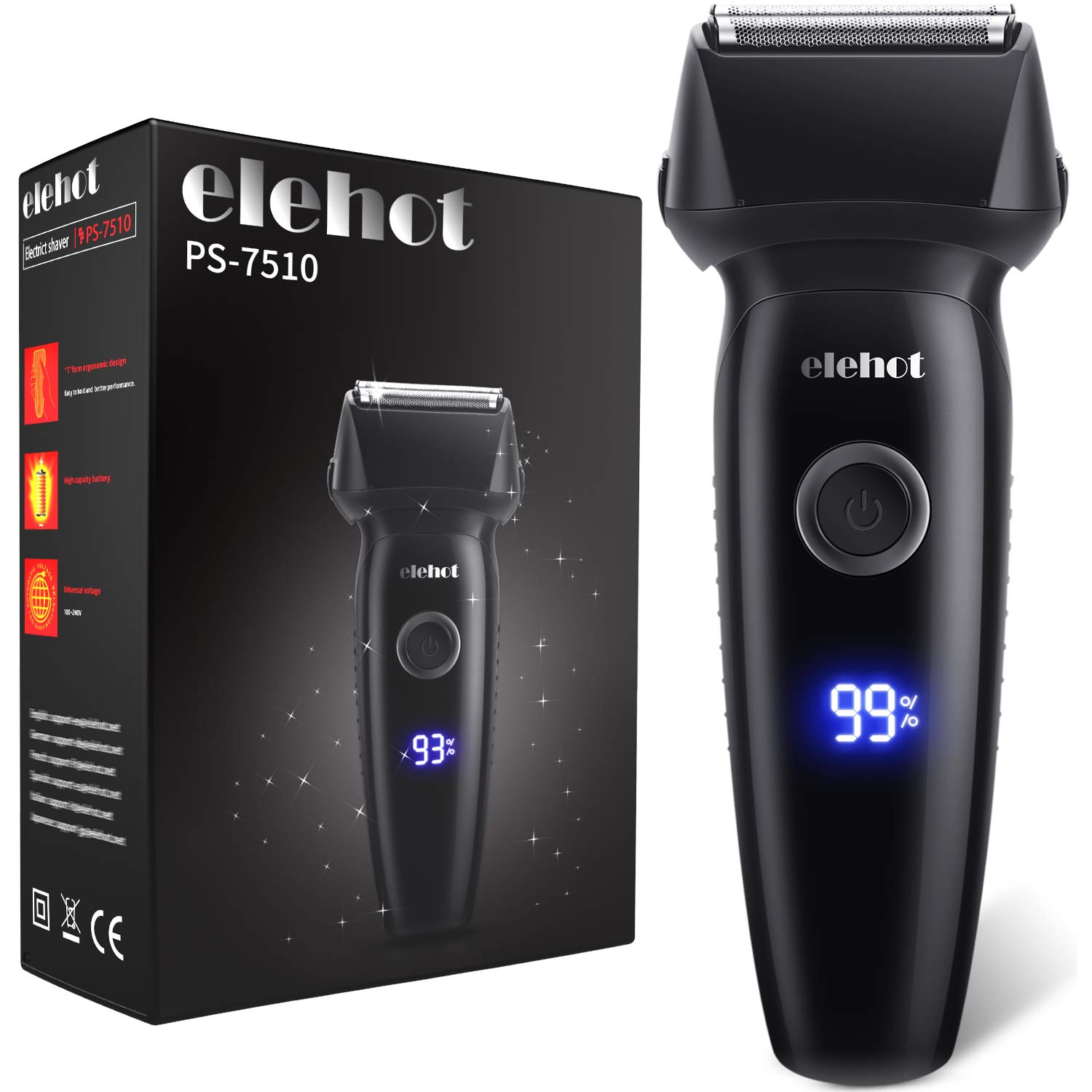 ELEHOT Electric Razor for Men Reachargeable Lithium-ion Electric Foil Shaver Cord Cordless Use with Slide-Up Trimmer