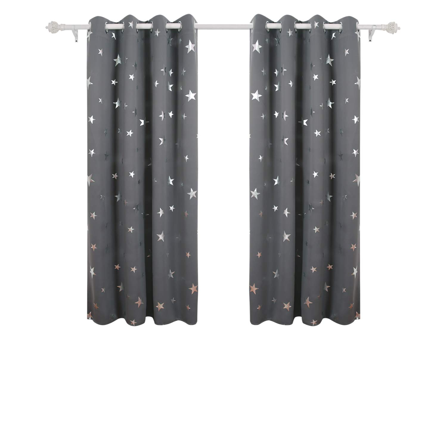 Deconovo Super Soft Stars Foil Printed Thermal Insulated Ready Made Curtains Eyelet Blackout For Bedroom