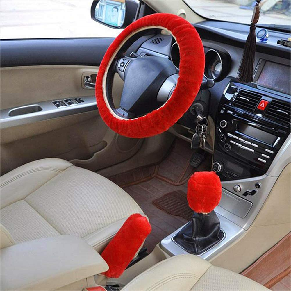 Fluffy Steering Wheel Cover Set Non-Slip Interior Accessories Fuzzy Winter Warm Wrap Universal Fits Car Truck Jeep 38CM with Gear Shift Cover Handbrake Cover Beige Red for Women Men Red