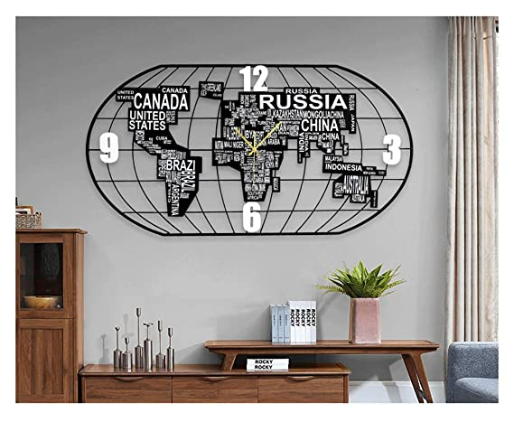 Amazon.com: ZLZGZ Map Wall Clock, Two Sizes, Trendy Quartz ...