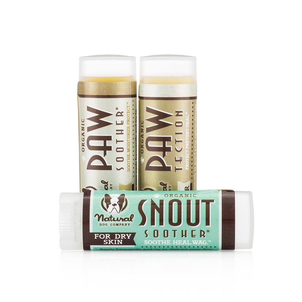 NaturalDog.com Snout Soother + Paw Soother + PawTector | Heals Dry Cracked Dog Paw Pads & Noses | .15oz Travel Stick Set