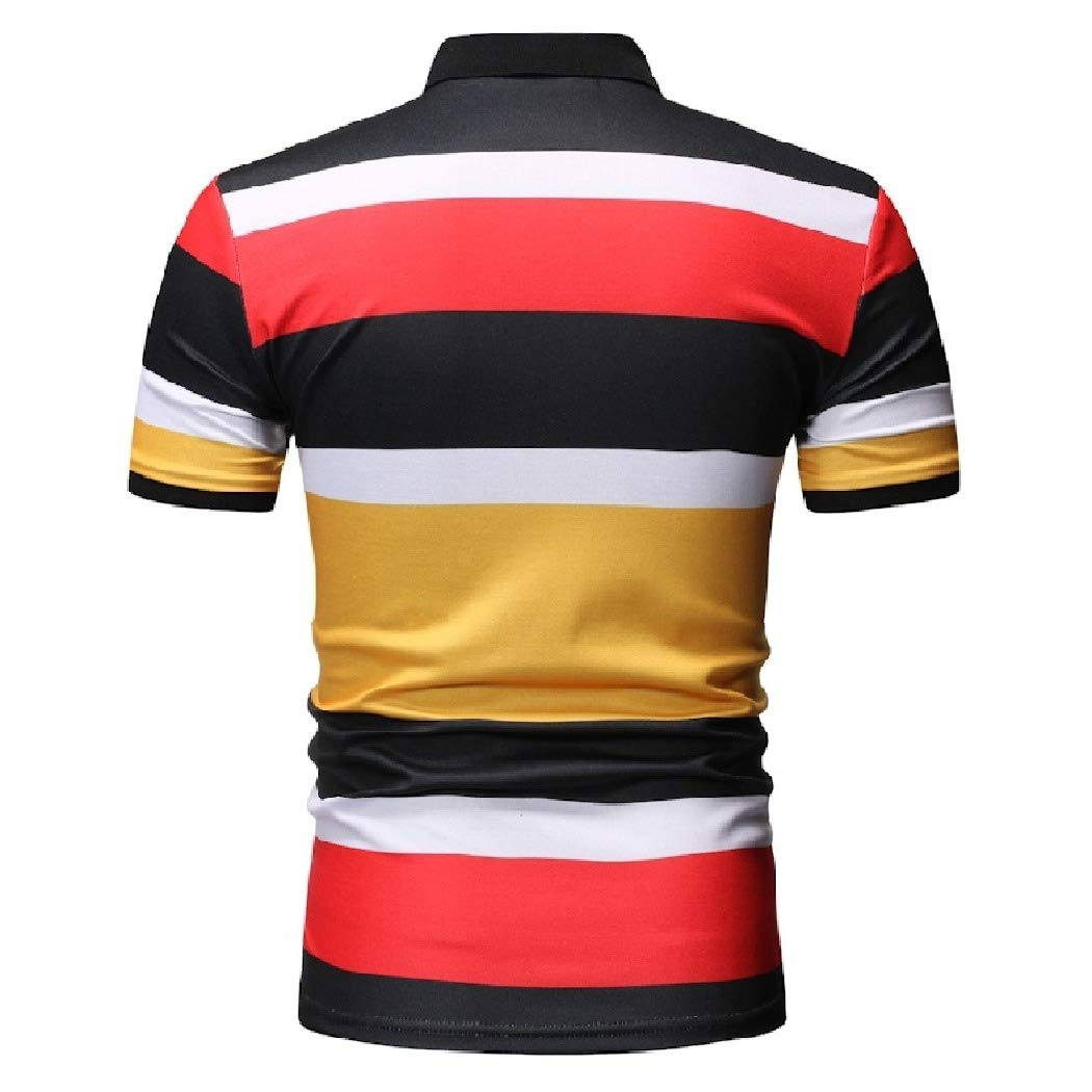 Mfasica Mens Polo Shirt Bussiness Silm Fit Color Conjoin Causal Stylish Tees