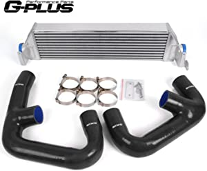 Twin Intercooler Upgrade + Silicone Black Hose Kit For Volkswagen Golf R GTI MK7