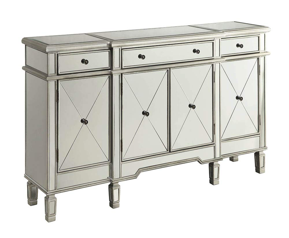 Mirror Panel 4-Door Wine Cabinet with Removable Wine Rack Silver by Coaster Home Furnishings
