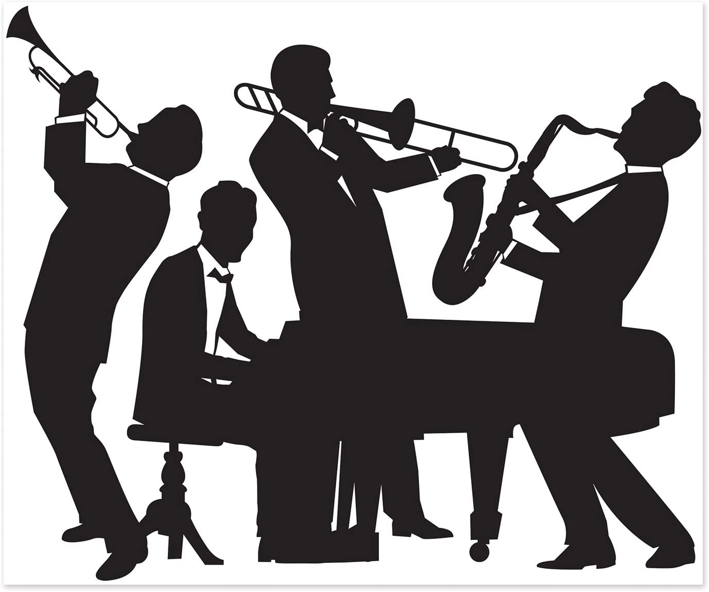 Beistle 52178 20's Jazz Band Insta Mural Complete Wall Decoration Mardi Gras Music Party Supplies, 5' x 6', Black/White