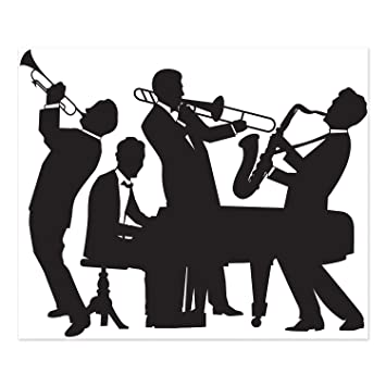 Amazon com beistle 52178 great 20s jazz band insta mural 5 x 6 party decorations black white kitchen dining