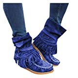Pongfunsy Women's Boots Ladies Fashion Casual Round Toe Rome Retro Fringe Short Ankle Boots Flat Shoes