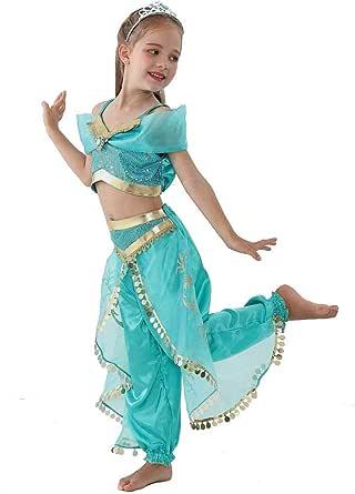 Dirran Arabian Princess Aladdin Dress up Costume Girls Jasmine Cosplay Kids Halloween Chirstmas