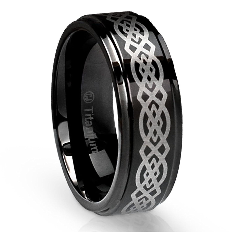 8MM Mens Titanium Ring Wedding Band Black With Celtic Design