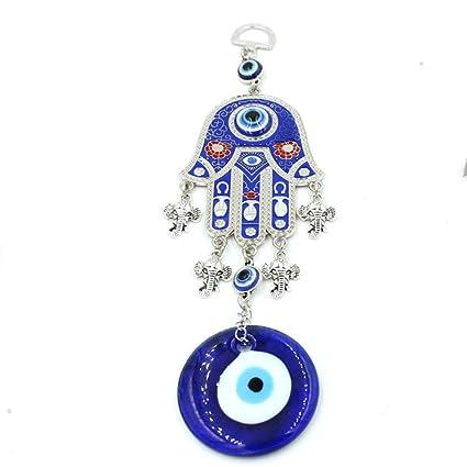 Decoración de pared turca con diseño de mano Jamsa contra el mal de ojo para colgar en la pared o en el coche, color azul, metal, Blue04, 26cm*10cm