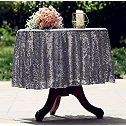 "Eternal Beauty Sequin Tablecloth, Sequin Table Linen (48"" Round, Metallic Gray)"