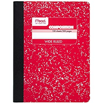 Mead Composition Book, Notebook, Wide Ruled, 9.75 x 7.5 Inch, Red (72245)