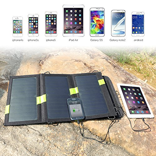 Solar Panel X-DRAGON 20W SunPower Solar Phone Charger with SolarIQ Technology, Dual USB Ports for iPhone X 8 7, ipad, iPods, Samsung, Android Smartphones Cell Phone, Outdoor, Camping